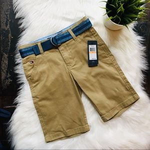 TOMMY HILFIGER Khaki Shorts & Belt 7 NEW NWT